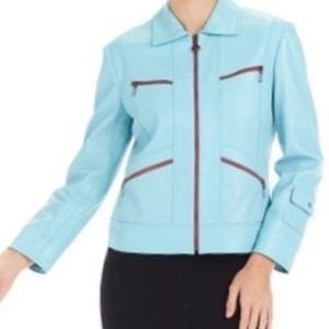 St. John Knits Sport leather baby blue jacket Sz M